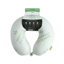 Load image into Gallery viewer, Bamboo Memory Foam Travel Neck Pillow - White