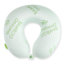 Load image into Gallery viewer, Bamboo Travel Pillow - White, Hypoallergenic Washable Memory Foam Bon Voyage
