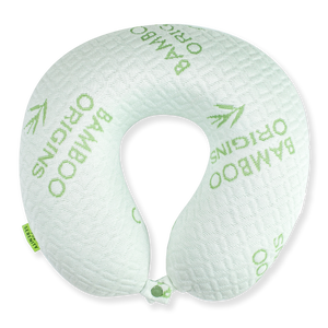 Bamboo Travel Pillow - White, Hypoallergenic Washable Memory Foam Bon Voyage