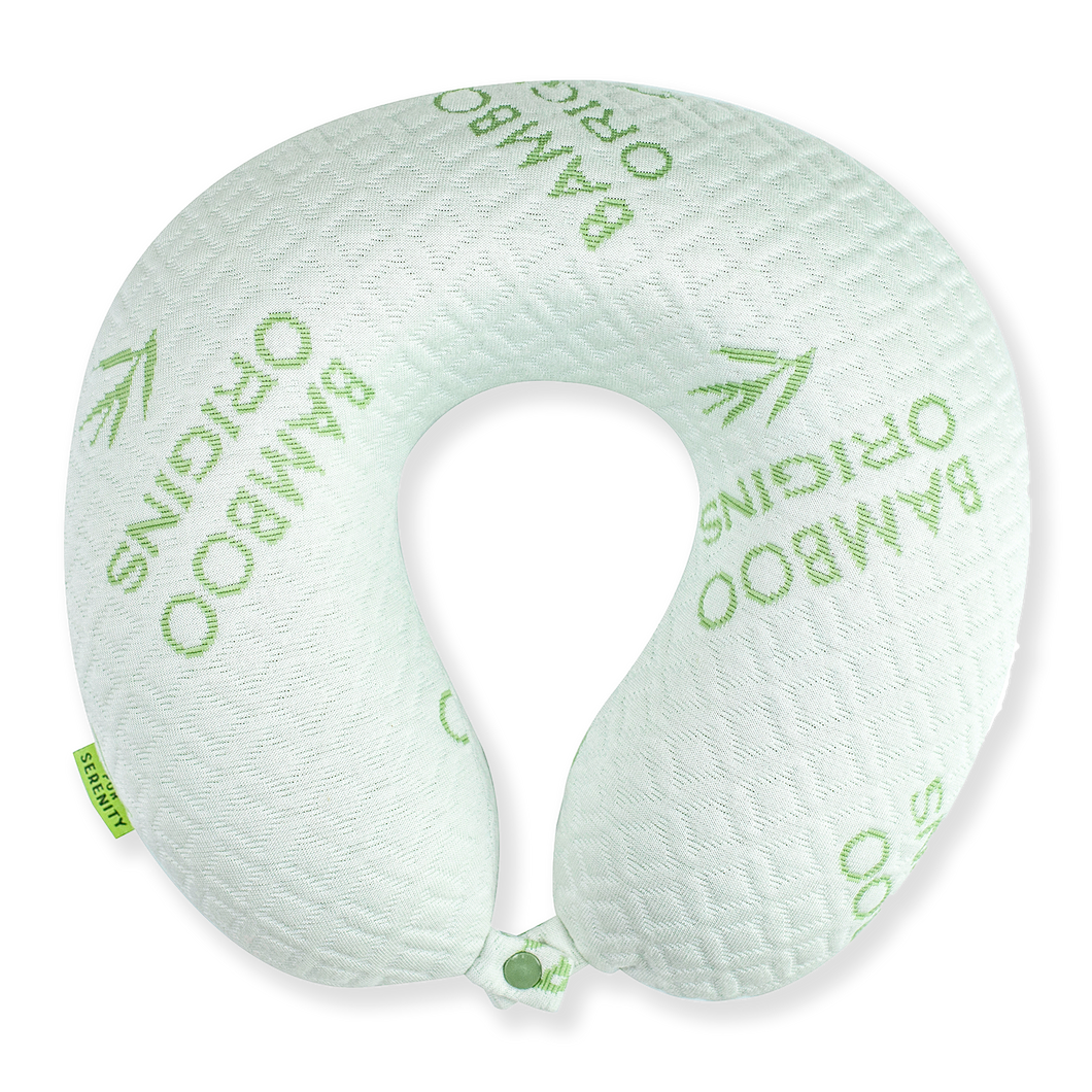 Bamboo Memory Foam Travel Neck Pillow - White