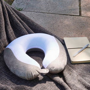 Gel Infused Travel Pillow - Grey, Gel Infused Memory Foam, Removable Washable Cover