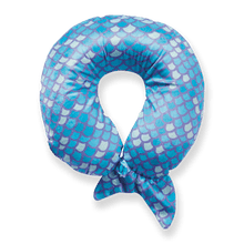 Load image into Gallery viewer, Mermaid Tail Travel Pillow - Blue, Bon Voyage Memory Foam Cushion Neck Pillows Removable Washable Cover