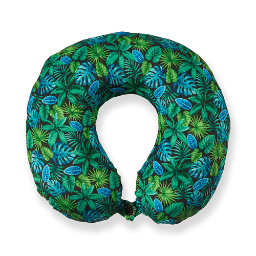 Midnight Jungle Memory Foam Travel Neck Pillow - Green