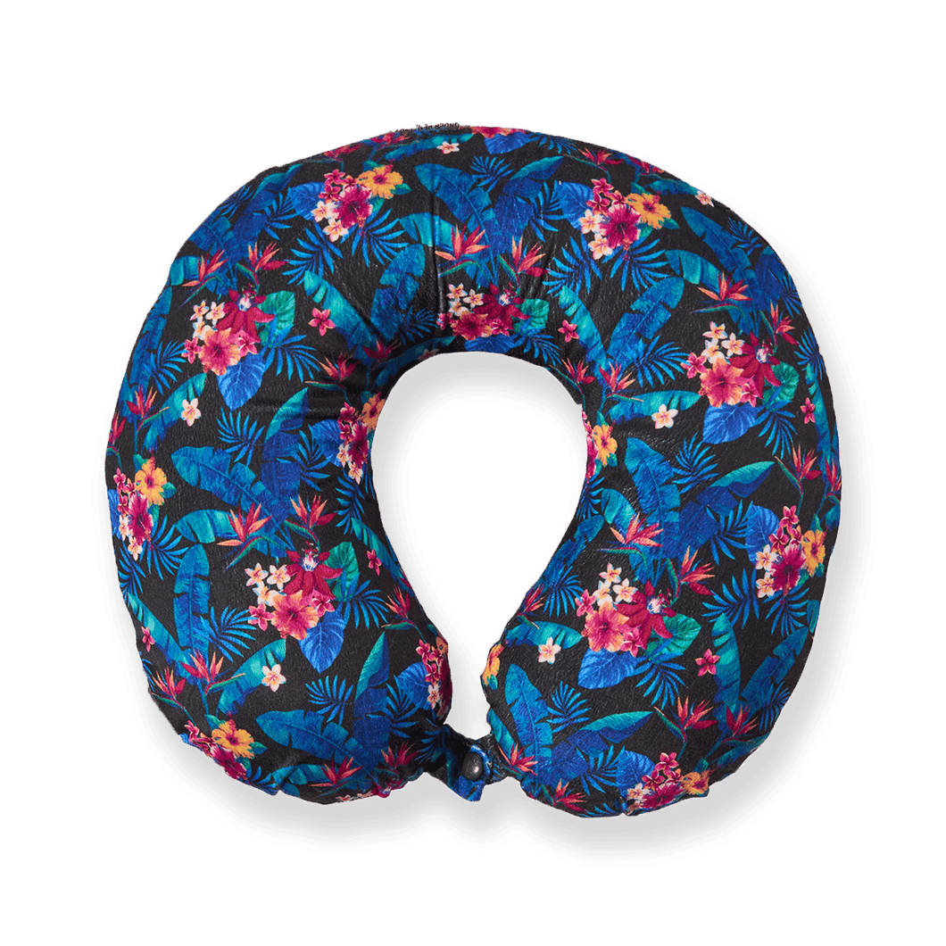Midnight Jungle Memory Foam Travel Neck Pillow - Dark Blue
