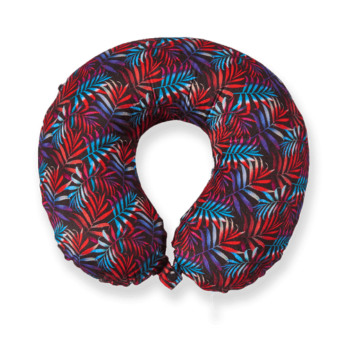 Midnight Jungle Memory Foam Travel Neck Pillow - red
