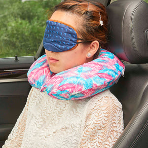 Midnight Jungle Memory Foam Travel Neck Pillow - Pink