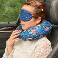 Load image into Gallery viewer, Midnight Jungle Memory Foam Travel Neck Pillow - Dark Blue