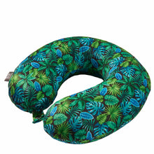 Load image into Gallery viewer, Midnight Jungle Memory Foam Travel Neck Pillow - Green
