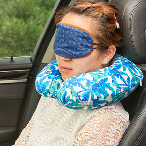 Midnight Jungle Memory Foam Travel Neck Pillow - Blue