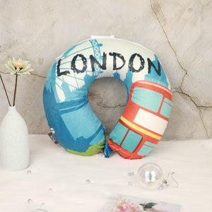 World Edition Memory Foam Travel Neck Pillow - London Blue