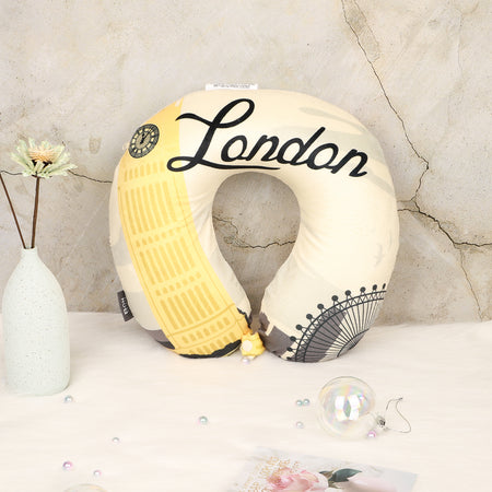 World Edition Memory Foam Travel Neck Pillow - London Yellow