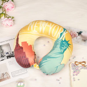 World Edition Travel Pillow - New York, Bon Voyage Memory Foam Cushion Neck Pillows Removable Washable Cover