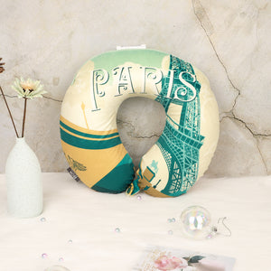 World Edition Travel Pillow - Paris, Bon Voyage Memory Foam Cushion Neck Pillows Removable Washable Cover