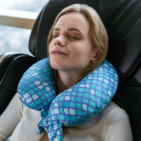 Mermaid Tail Memory Foam Travel Neck Pillow - Blue