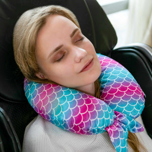 Mermaid Tail Memory Foam Travel Neck Pillow - Pink