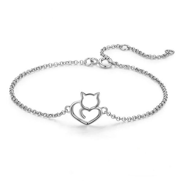Sterling Silver Cat Charm Bracelet - A Cat About Town