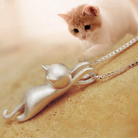 Whimsical Hanging Cat Necklace - A Cat About Town