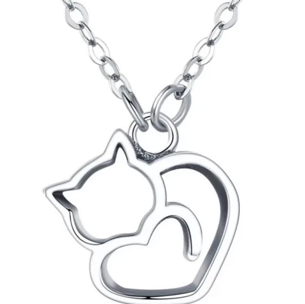 Sterling Silver Cat Charm Necklace - A Cat About Town