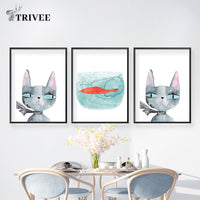 Nordic Style Cat Prints - A Cat About Town