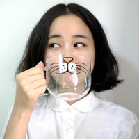 Novelty Glass Cat Face Mug - A Cat About Town