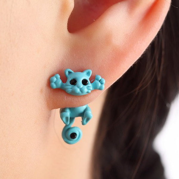 Colorful Playful Cat Earrings - A Cat About Town