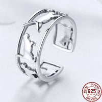 Sterling Silver Playing Cat Ring - A Cat About Town
