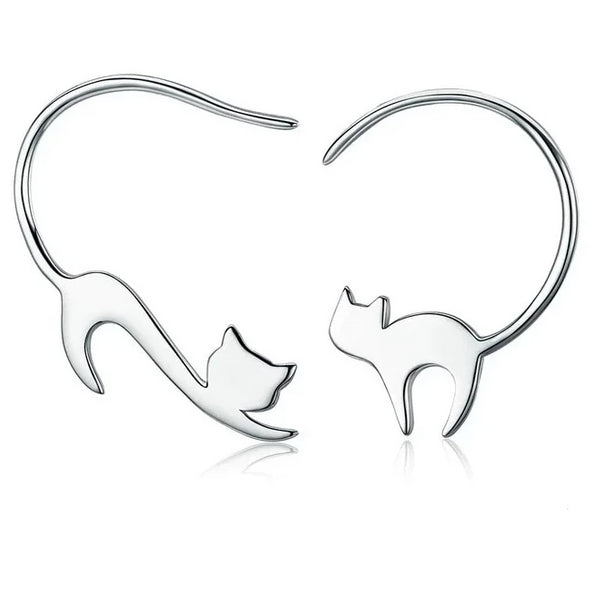 Sterling Silver Hanging Cat Earrings - A Cat About Town