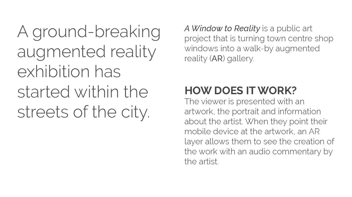 A Window to Reality -An Arts Council backed art project