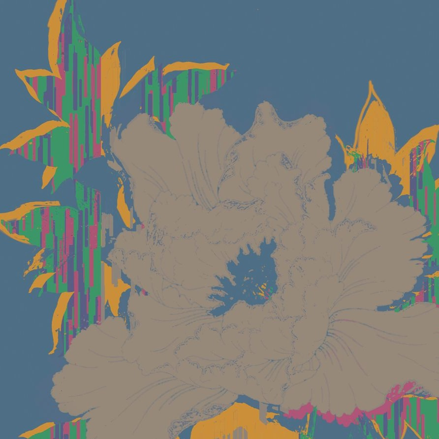 blue and orange glitched floral print