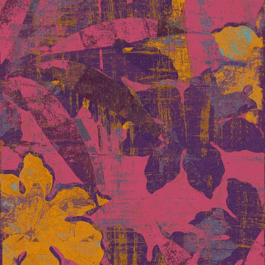 orange and pink and purple tropical glitch art print