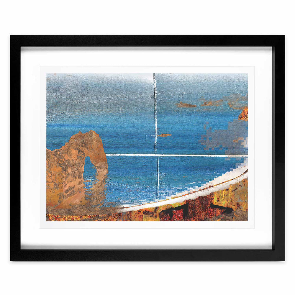 Coast in Orange and Blue – Distorted Horizons - Digital Art Print