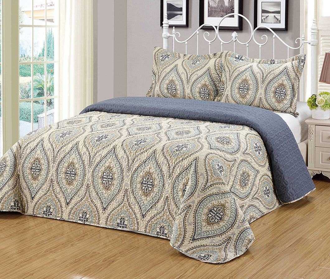Microfiber 3pc Bedspread Set