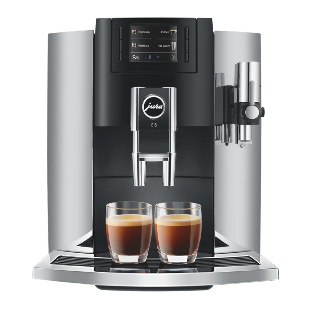 JURA E8 Chrome Superautomatic Coffee Machine 15271 available from Espresso Canada