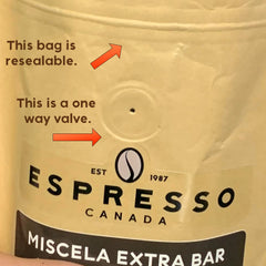 Espresso Canada coffee bag displaying one way valve and resealable features