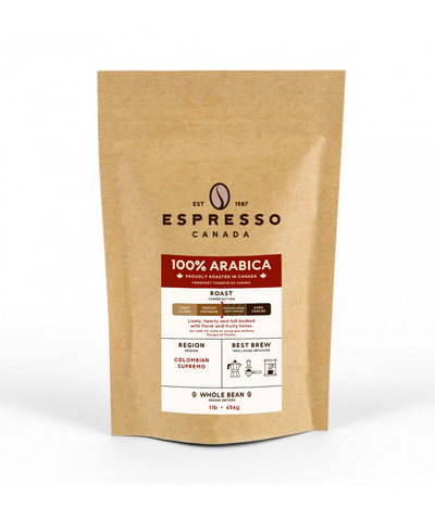 100% Arabica Coffee Beans by Espresso Canada Coffee Bag
