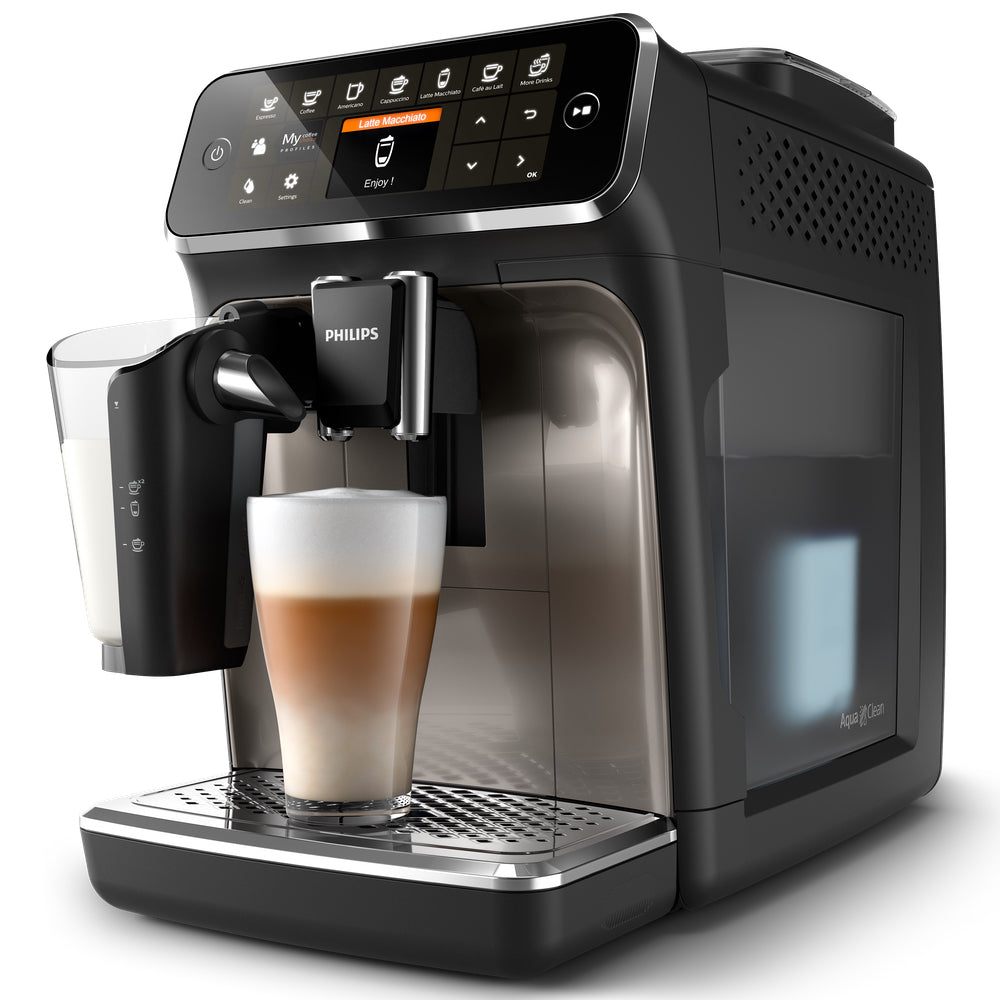 Philips Saeco EP4347/94  Side View  with view of AquaClean water filter available at Espresso Canada