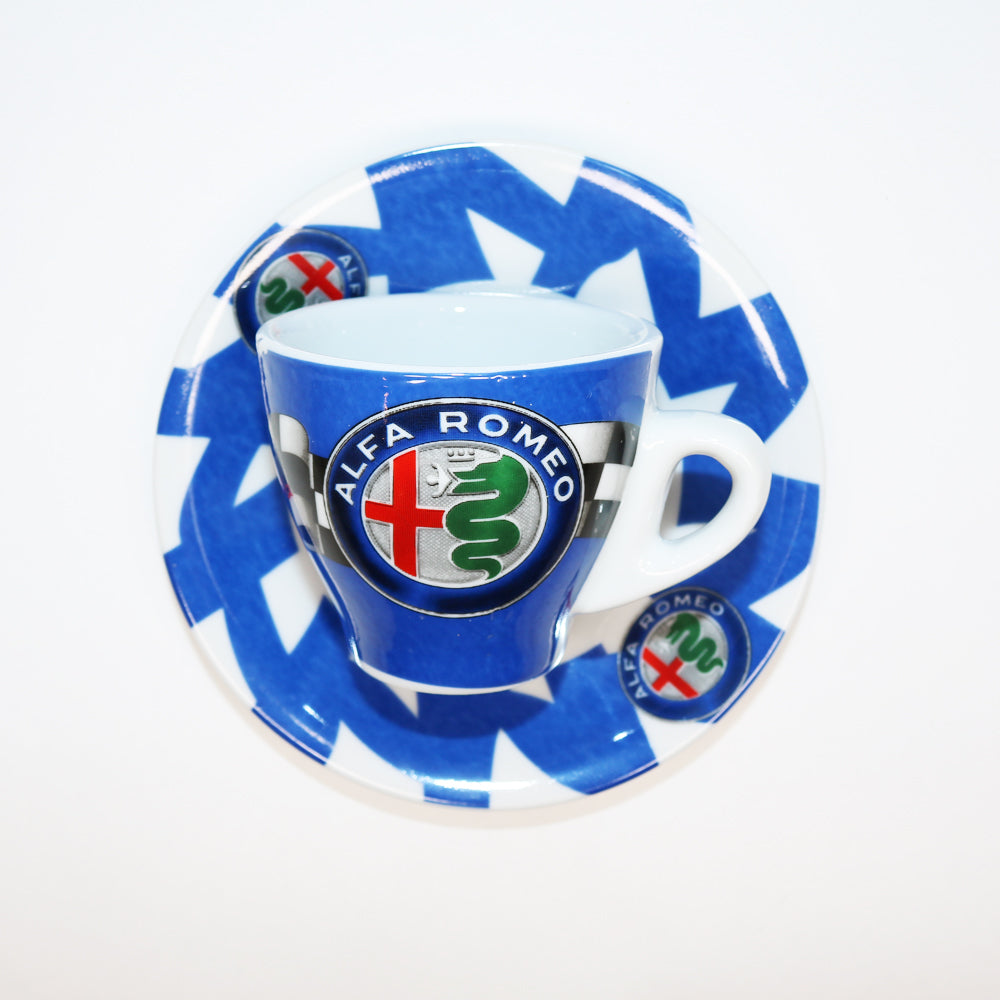 Porcelain Espresso Cup with Alfa Romeo Emblem available at Espresso Canada