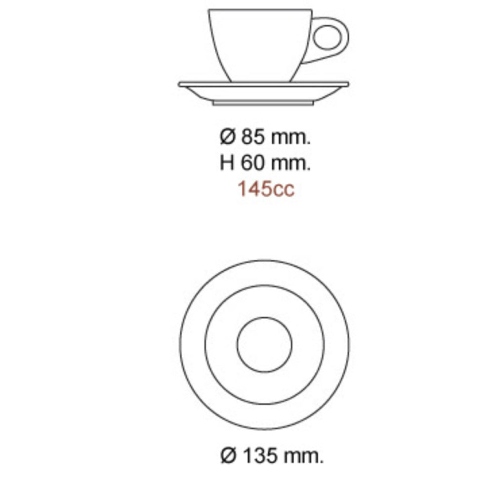 Nuovo Point Amalfi Cappuccino Cup Dimensions