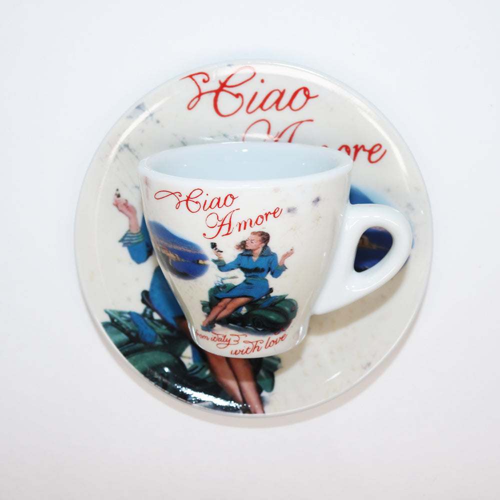 Porcelain Espresso Cup with Ciao Amore and Woman on Vespa
