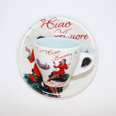 Porcelain Espresso Cup with Ciao Amore and Woman on Vespa in Red