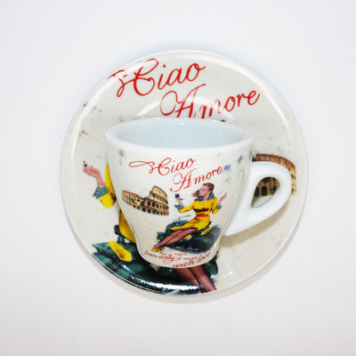 Porcelain Cup with Ciao Amore and Woman on Vespa in Yellow