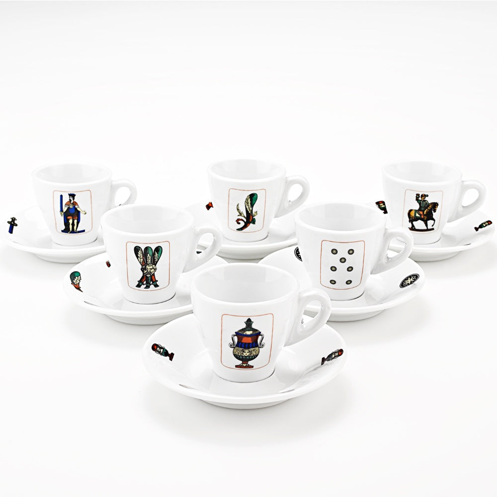 Espresso Cups with Italian Playing Cards Images