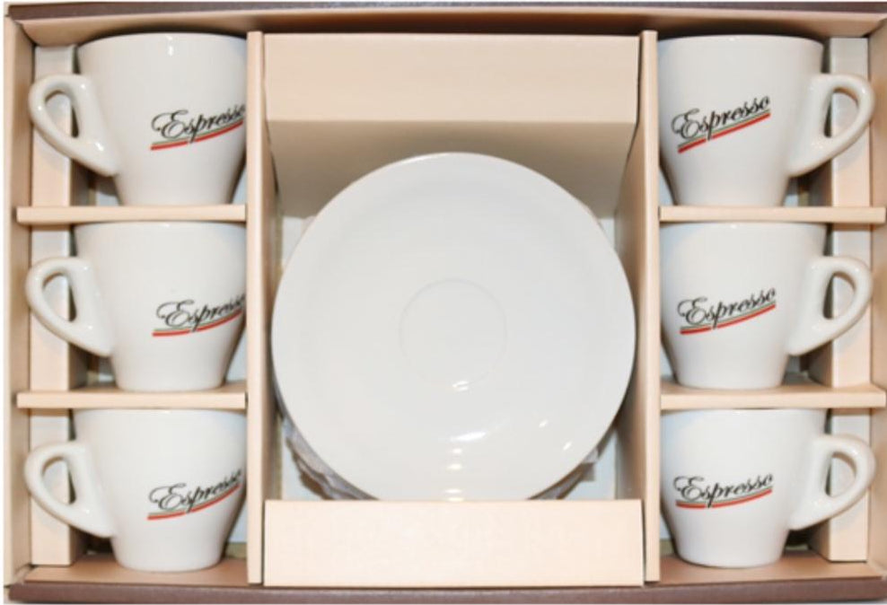 Espresso Cups⎮Porcelain 90 ml with word espresso on front and Italian flag colours