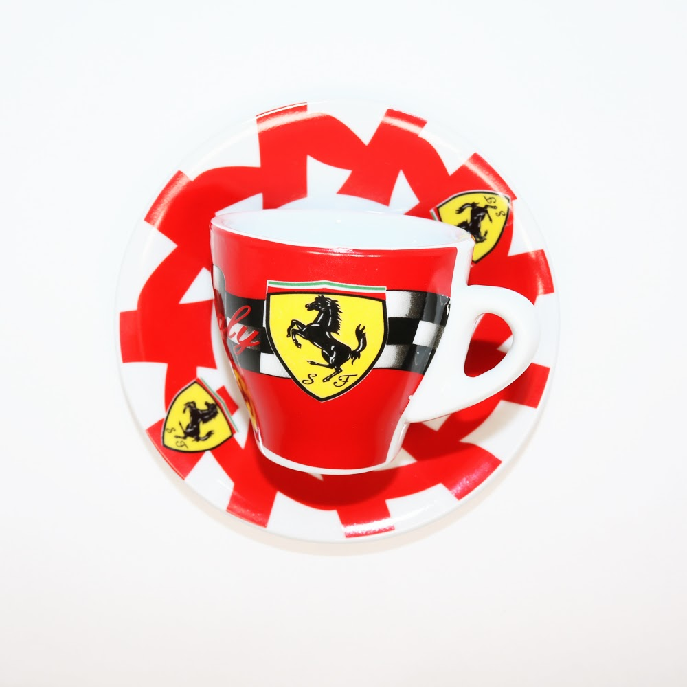 Porcelain Espresso Cup with Ferrari Emblem available at Espresso Machine Experts