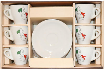 Espresso Cups⎮90ml Porcelain with Italian Boot Motif on front of the cup