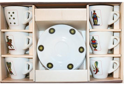 Espresso Cups⎮Porcelain 90 ml with images of Italian playing cards on front and Italian flag colours