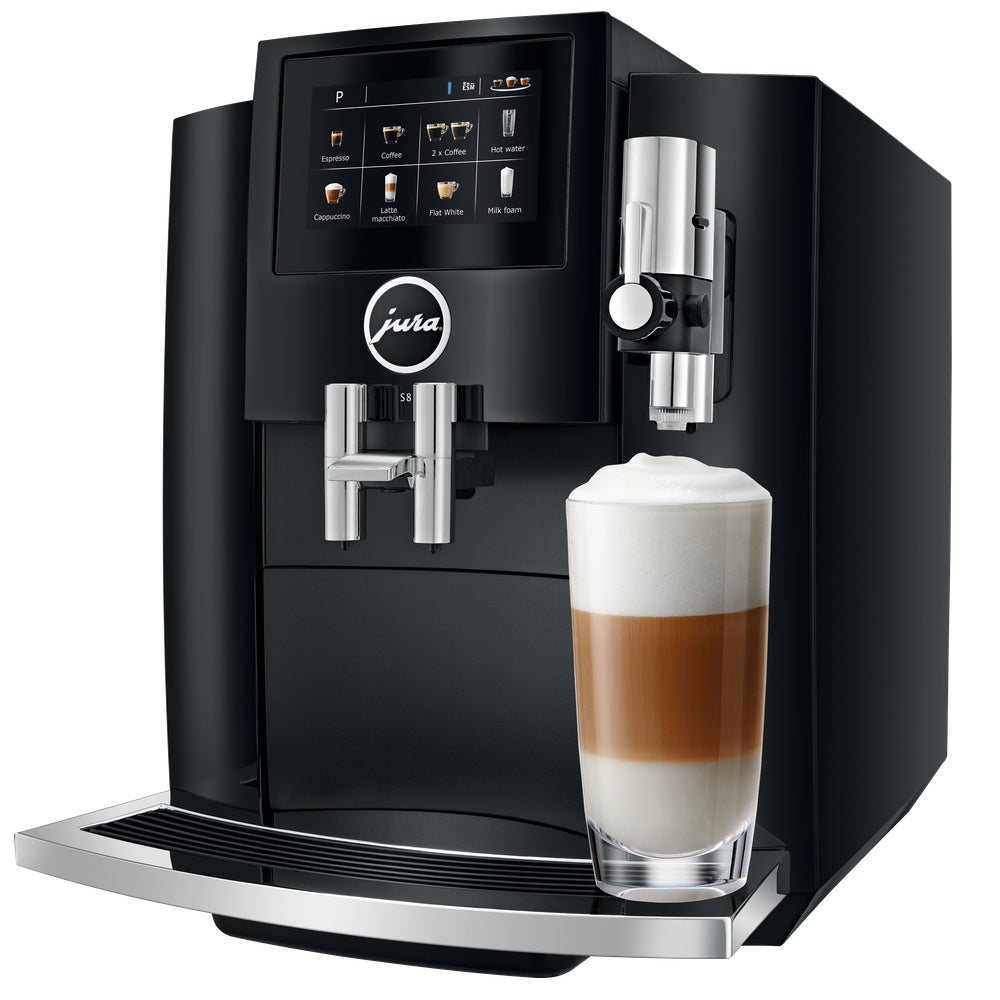 Jura S8 Piano Black Product ID 15356  with latte available from Espresso Canada