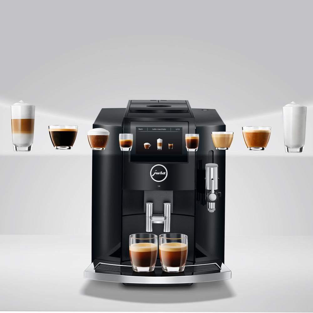 Jura S8 Piano Black Product ID 15356 with coffee explosion from display panel  available from Espresso Canada