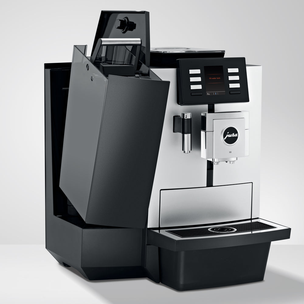 Jura X8 Coffee Machine Tilted Dreg Drawer available at Espresso Canada