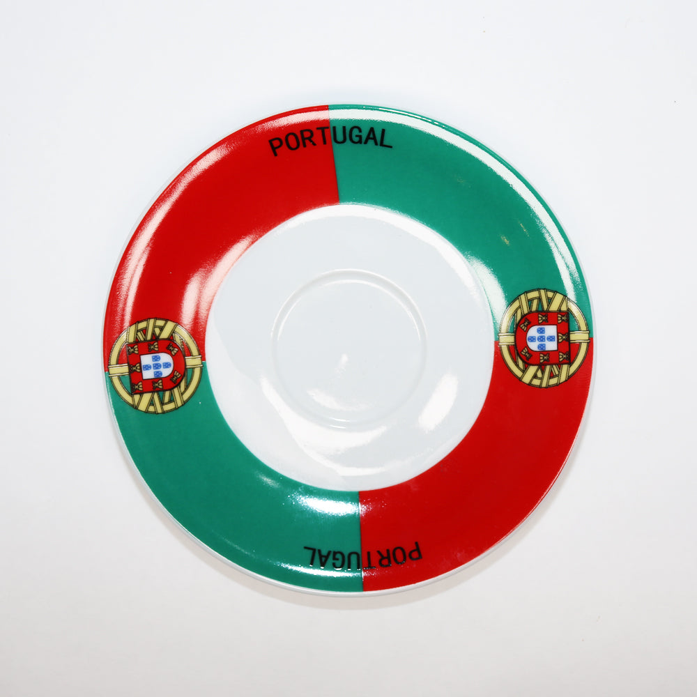 Plate for Porcelain Espresso Cup with Portugal Soccer Team Emblem
